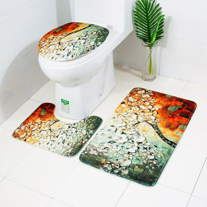 Tree Flowers Printed Bath Mat toilet seat covers
