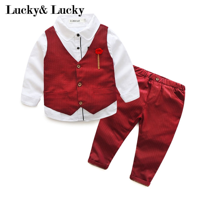 kids boys vest+shirt+pants party clothing set