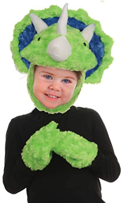 Kid's Children's Animal Pack Dress Up Kit - Triceratops Costume, Green, One Size