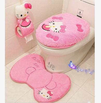 Hello Kitty Pink Cartoon Soft Toilet Seat Cover Bath Mat Set