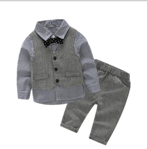 baby boys shirt+vest+pant+bow party sets