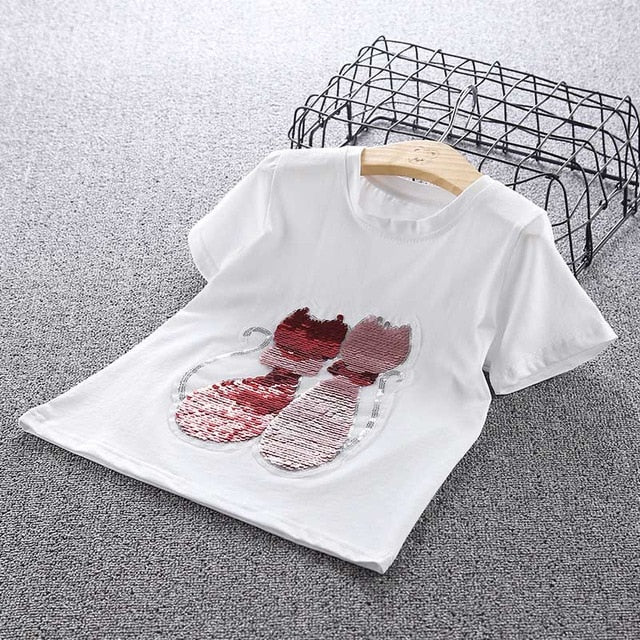 girl change color Fashion cat Sequins Tshirts