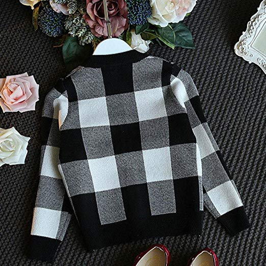 Girls Autumn Winter Plaid Knitted Sweater Dress