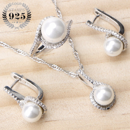Pearl Zircon Clips Earrings Ring Pendant Necklace jewelry Set