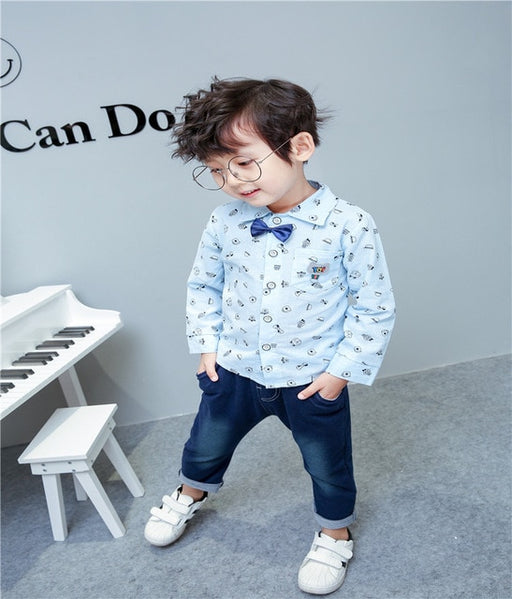 Baby Boys bow Shirt +Jeans sets