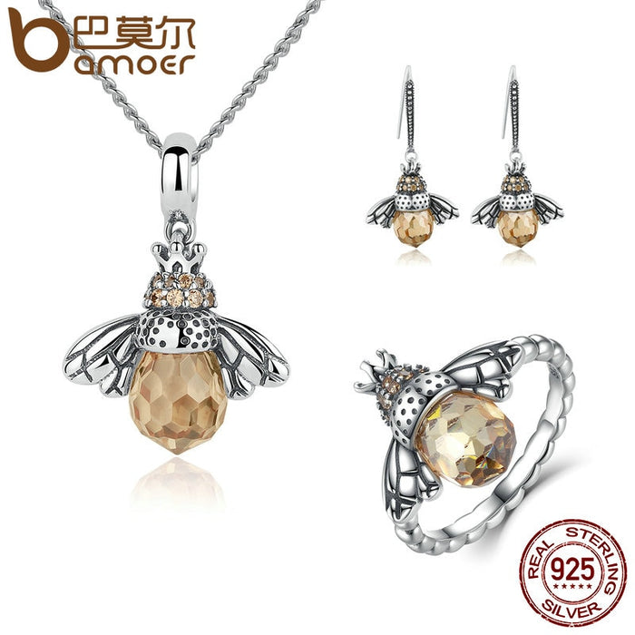 Sterling Silver Lovely Orange Bee Jewelry Sets