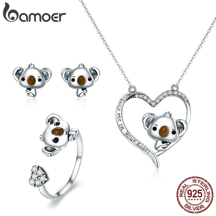 Sterling Silver Cute Bear Koala Animal Collection jewelry Set