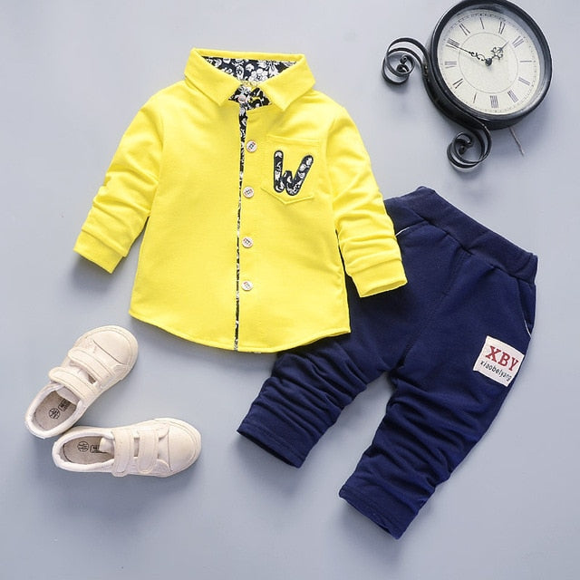 boys cotton coats+pants party sets