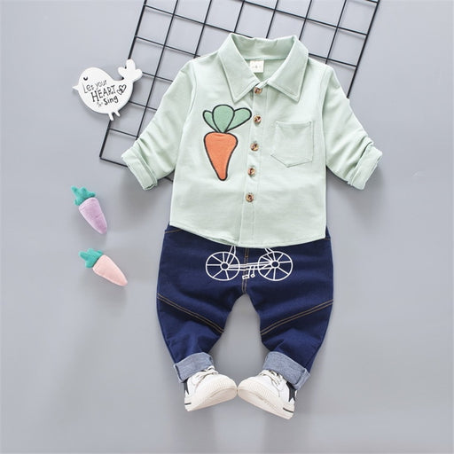 baby boys girls cotton shirt+pants sets