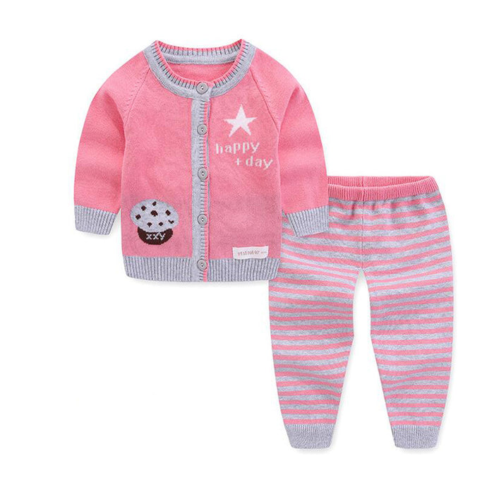 boy girl knitted cotton sweater pants set