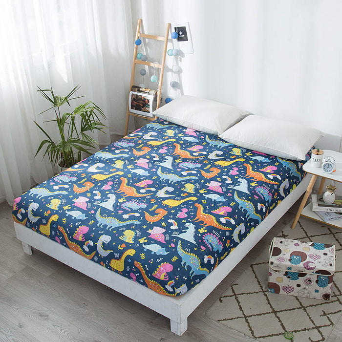 Bonenjoy Kids Bed Sheet Dinosaur Printed Fitted Sheet Queen Size Mattress Cover Protector Single Bed Sheet with Elastic type 2