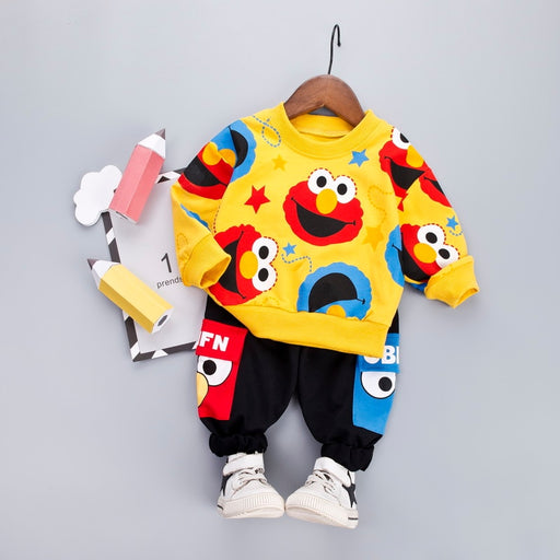 baby Boys Fashion Cartoon Casual T-shit + Black Pants sets