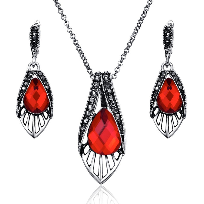 Bright Vintage Fashion Red Crystal Bridal Jewellery  Set