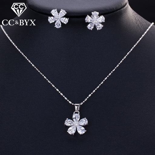 White Flower Earrings & Necklace Pendants Jewelry Sets