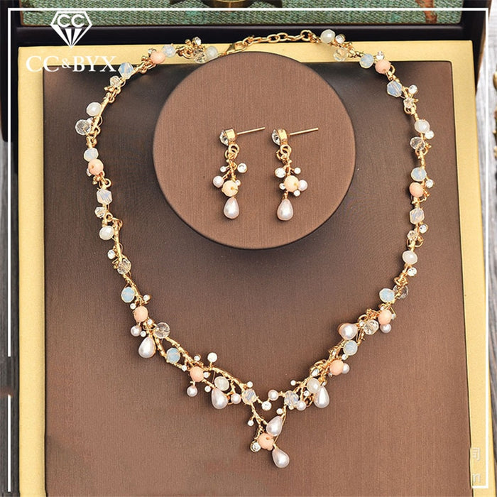 luxury pearl necklace earring set jewelry sets
