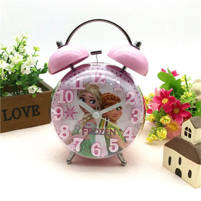 Cartoon  Elsa Ann Alarm Clock Princess Sofia KT New 3d Convex Cartoon Boy Girl Student Bedside Bell Alarm Clock Night Light