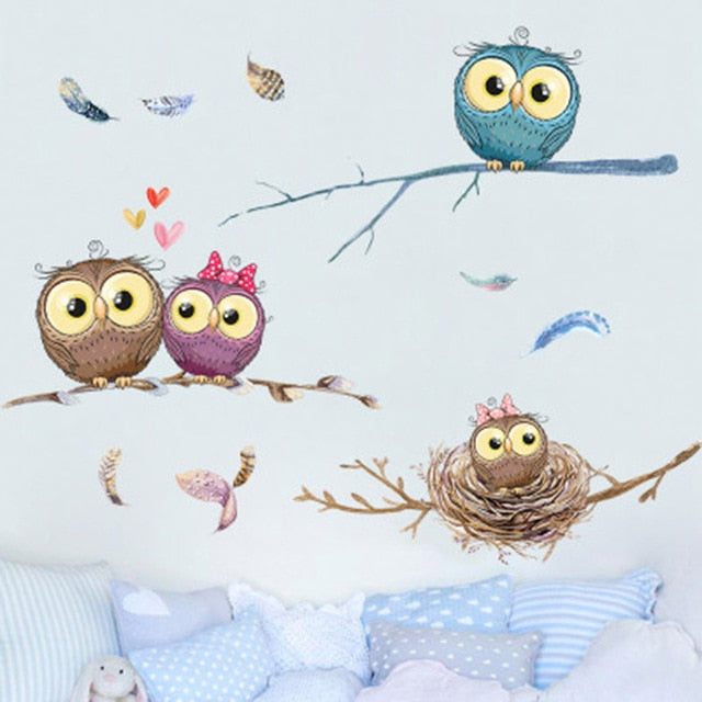 Cartoon Owl Family on Tree Branches Wall Stickers