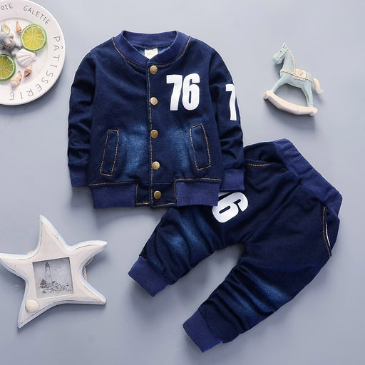 baby boys casual denim shirt+pants sets