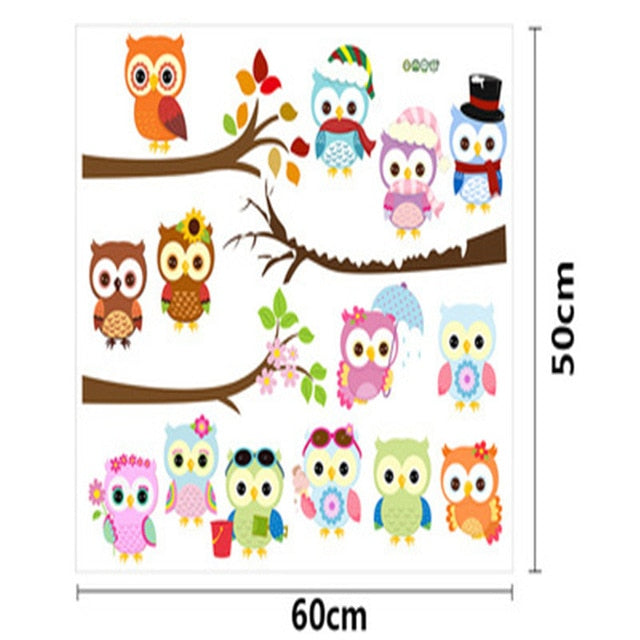 Colorful Owls Cartoon Wall Stickers