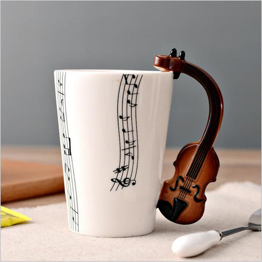 Creative Music Mug Novelty Guitar Ceramic Cup