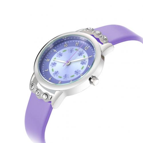 Diamond Round Dial Princess Wristwatch  PURPLE