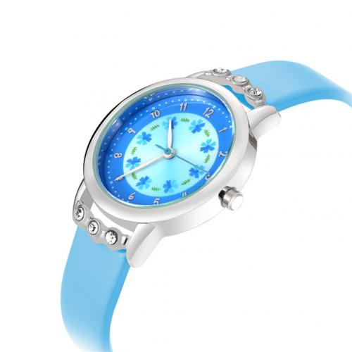 Diamond Round Dial Princess Wristwatch  Blue