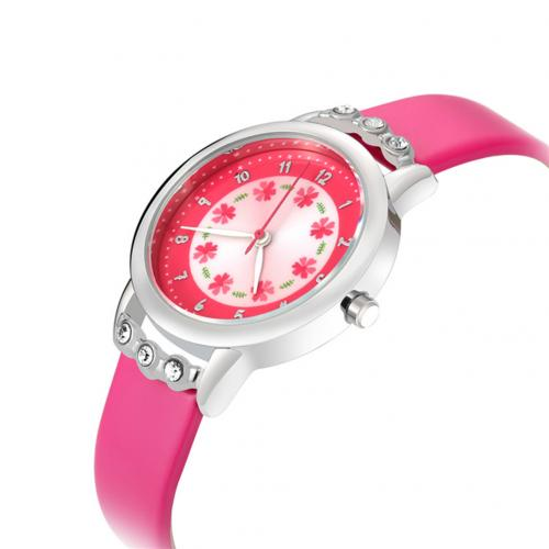 Diamond Round Dial Princess Wristwatch  Rose Red