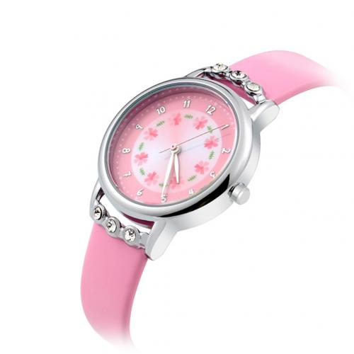 Diamond Round Dial Princess Wristwatch  pink