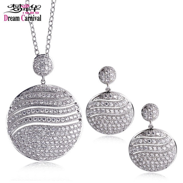 Pendant Necklace Round shape Metal Brass Jewelry set