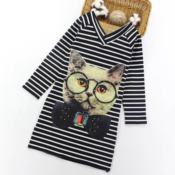 Girls Cartoon Cats Kids Dresses Girls Clothes Christmas Gifts