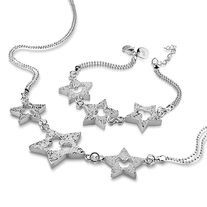 Star design Necklace Bangle bracelet Jewelry Set