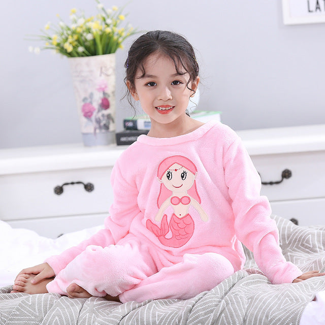 kids Girls Boys Flannel Animal Pijama Full Sleeve sleepwear