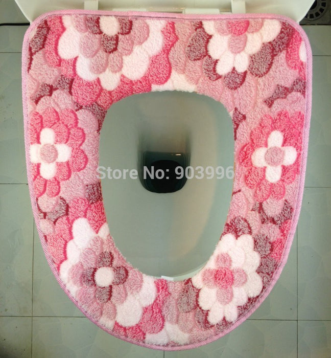 Gluing gem flowers Toilet Seat Cover Case