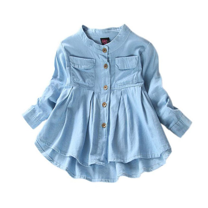 Baby Girl long sleeve Jean Denim Shirts dress