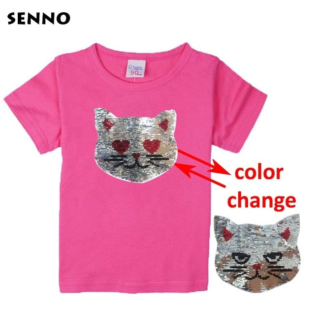 Girls Magic Glitter Reverse Sequin Top T shirts