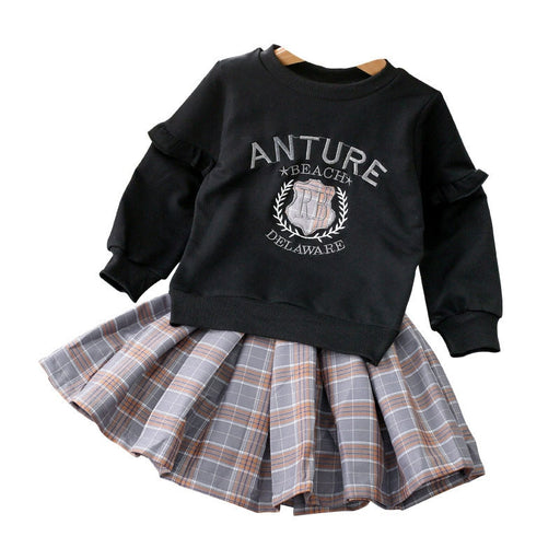 Girls long sleeve jacket plaid skirt sets