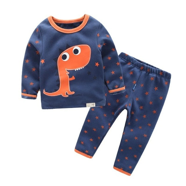 winter girls boys velvet cartoon Pajamas sets sleepwear