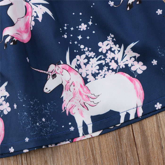 Kid Girl floral Unicorn printed Casual Dresses