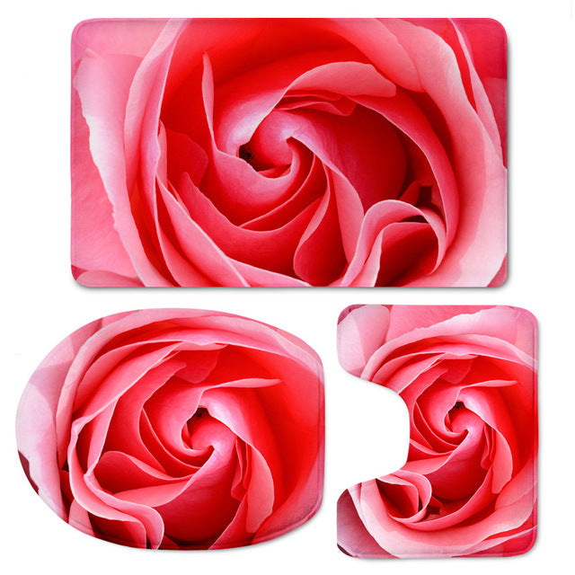 Beautiful Flower 3D Printing Toilet Seat Cover 3pcs Set