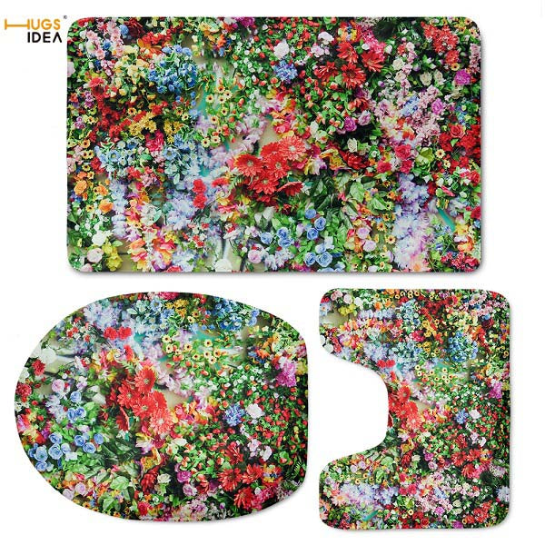 Pink Floral Bath Rug Set Soft Toilet Seat Cover