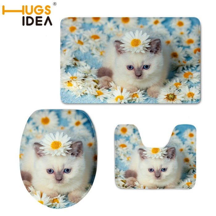 Cat with Flowers Printed Toilet Seat Cover Rug 3pcs/set