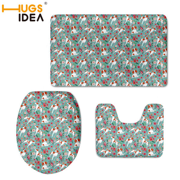 Flower Dog Warm Toilet seat Cover Non Slip Rugs 3pcs/set