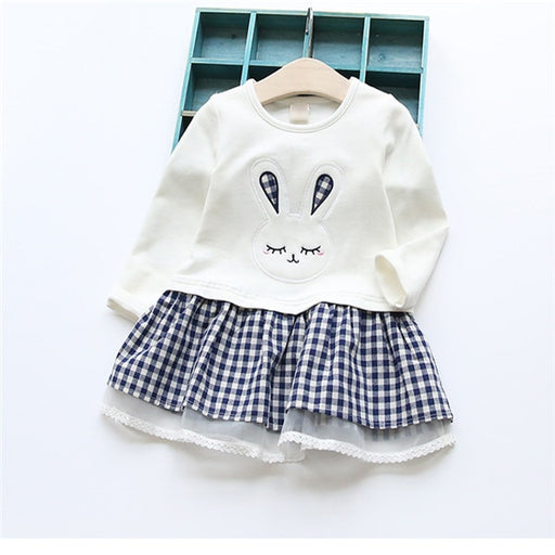 Baby Girl long sleeve Embroidery Bunny dress