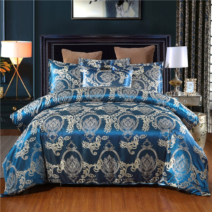 Jacquard Duvet Cover Sets Queen Size Satin Bed Cover Gold Color Double Bedding Set Jacquard Beddings and Bed Set 001