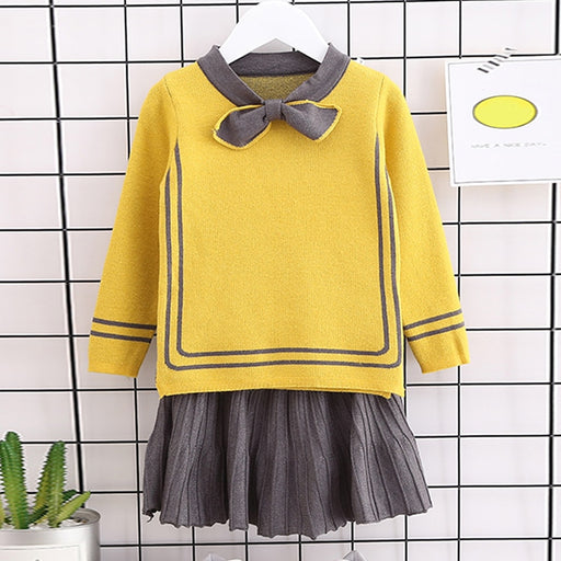 Kids Fashion Girls Pullover Sweater + Pleated Skirt Sets