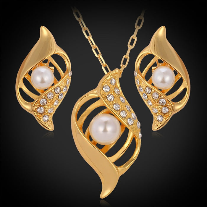 Big yellow Gold Color Pendant Earrings Fashion Jewelry Set