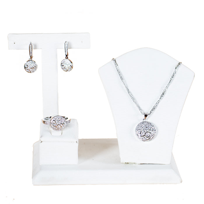 simple three pieces cubic zirconia jewelry sets