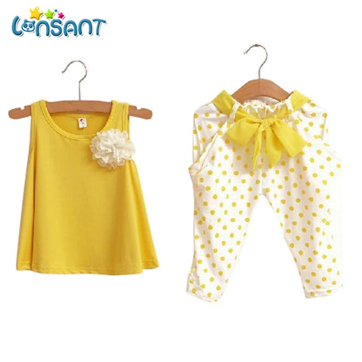 Baby Girl  Sleeveless Vest Dot Pant Clothes Set