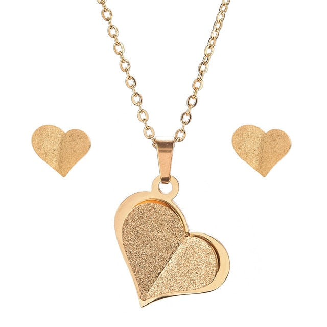 Stainless Steel Gold Color Heart Butterfly Jewelry Set