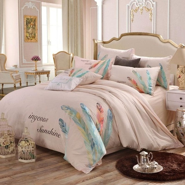 Embroidery duvet cover bedding set